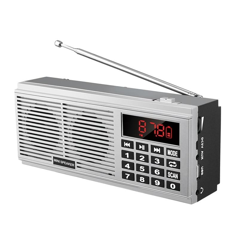 Mool L-518 digital mp3 music player alto-falante mini portátil mini auto scan fm am mw receptor de rádio (prata)