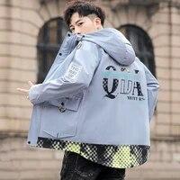 long sleeved pockets cargo jacket men harajuku windbreaker hooded hip hop streetwear zipper casual coats men high quality