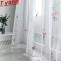 flamingo embroidery curtain for kids room white tulle for living room pink flamingo curtains for girls room hot sales wp23830