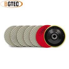 BGTEC 4 pouces 6 pièces #400 diamant professionnel tampons de polissage flexibles avec M14 support en plastique 100mm marbre et granit disque de ponçage