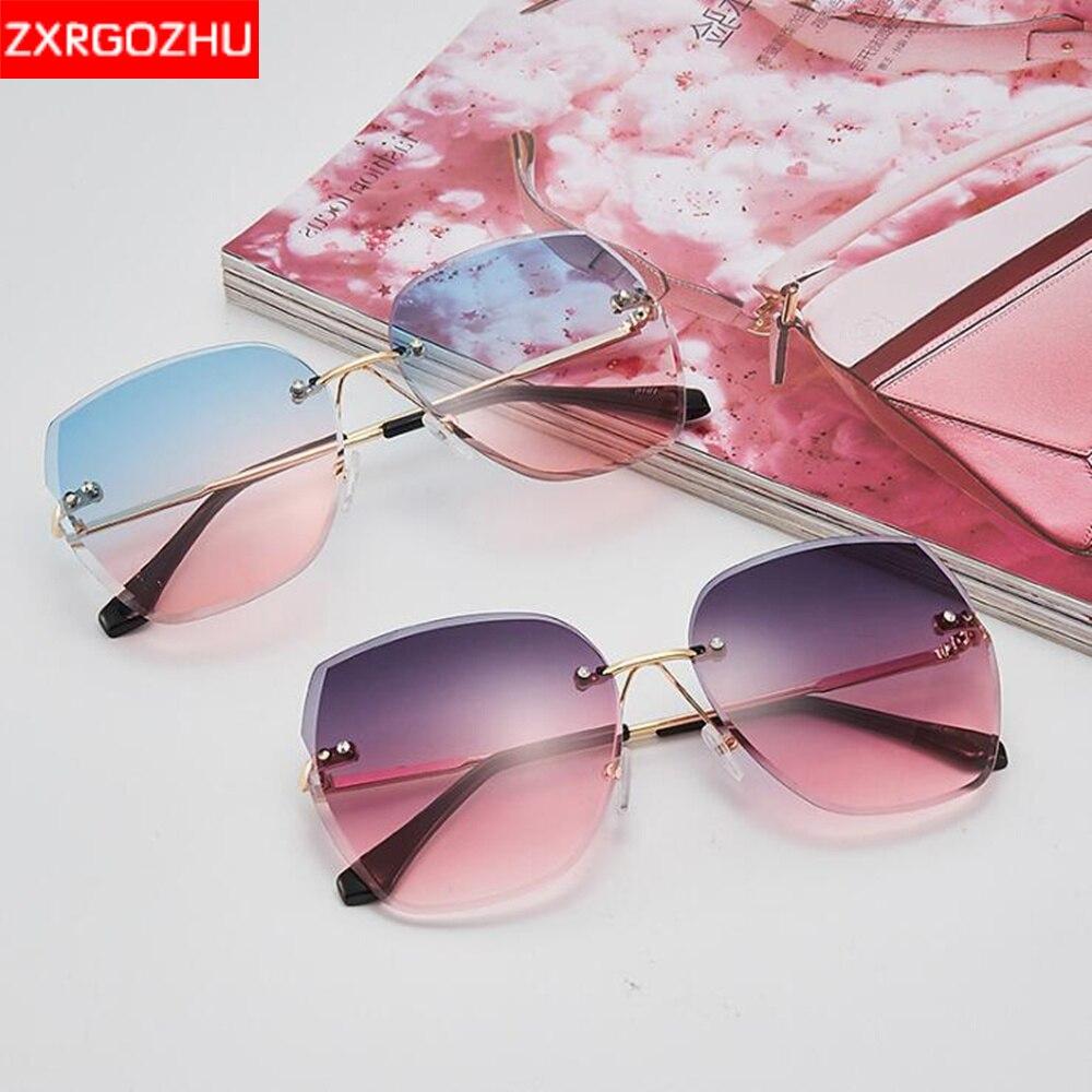 Brand Designer Frameless Sunglasses Women Cat eyewear UV400 gafas de sol Oversized Sun glasses Vinta