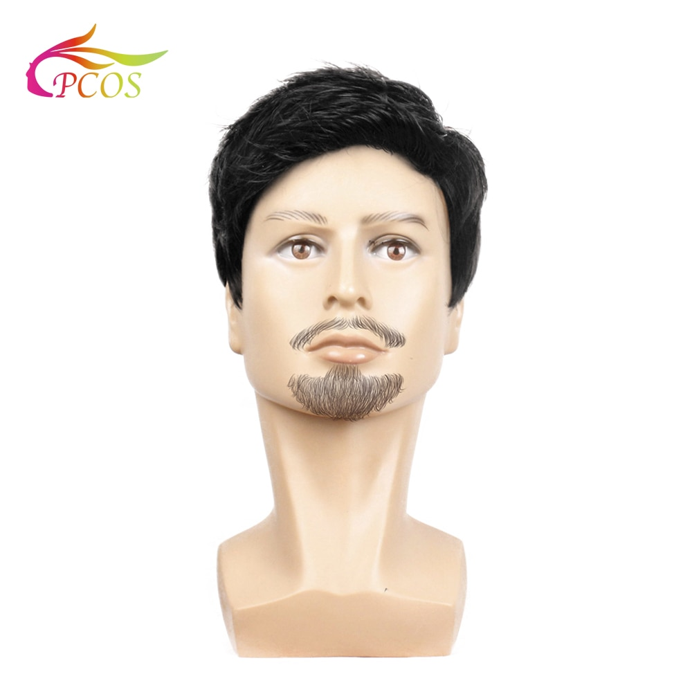 Fashion 2020 Wig Short Black Male Straight Synthetic Wig for Men Hair Fleeciness Realistic Natural Black Toupee Wigs