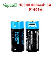 Vapcell 100% Originele 16340 800Mah P1608A Batterij 3.7V Knop Top Usb Oplaadbare Li-Ion Batterijen Voor Zaklamp Power gereedschap
