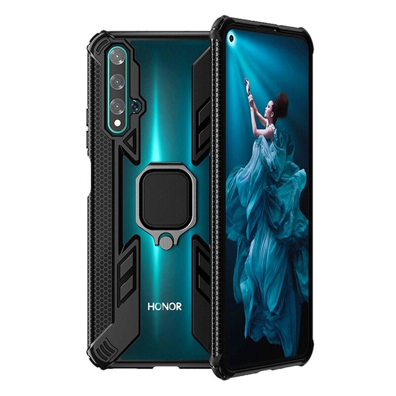 Прозрачный бронированный чехол для Huawei Honor 20 Pro V30 10i 10 20i 8A P30 Mate 20 P Smart Nova 5T 8X Pro Lite, кольцевой держатель, прозрачный чехол
