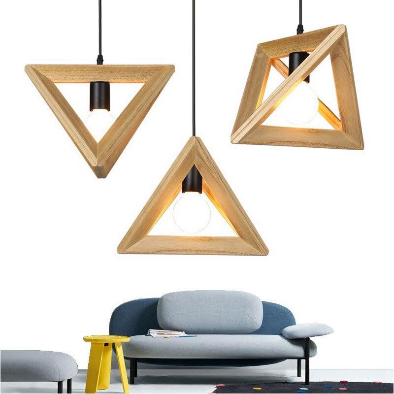 Nordic Modern Solid Wood Art Triangle Restaurant Lamp Creative Bar Cafe Bar Counter Decoration LED Chandelier  Dining Room Set