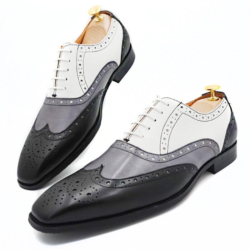 الاسلوب المناسب الرجال أكسفورد أحذية البروغ جلد طبيعي مختلط اللون الجناح تلميح الدانتيل يصل الرجال فستان أحذية الزفاف مكتب الأحذية الرسمية