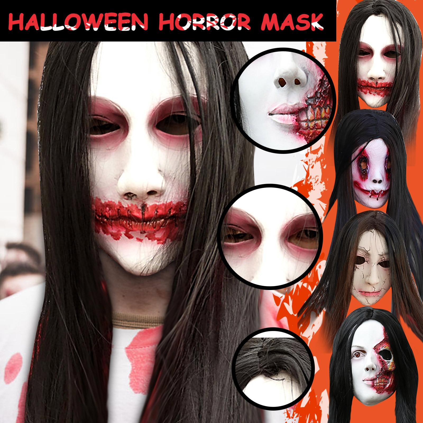 Halloween Scary Face Ghost Mask Creepy Black Long Wig Mask Party Horror Mask For Costume Party Shock