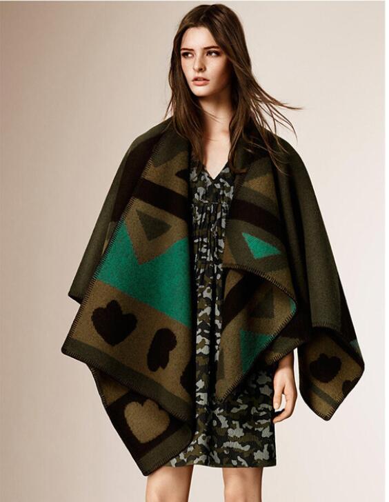 Mantón grande de Invierno para mujer, bufanda de capa de patrón que combina con el Color de estilo estrella a la moda mantiene la lana caliente