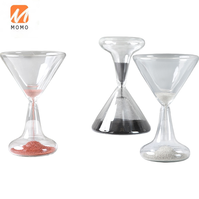Light Luxury Wine Glass Shape Hourglass Decoration Timer 1 Minute Creative Children's Birthday Gifts Home Decoration Durable