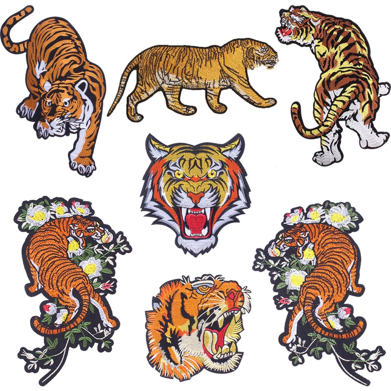 Diy poderoso tigre poderoso bordado vestuário decoração remendo denim saia tamanho grande 13.5 polegadas