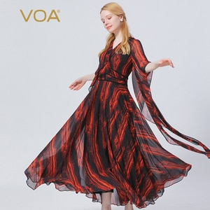 VOA Silk Georgette Red Sun Flame V-neck Zipper Sleeve with Tucker Pleat Double-layer Fashion Breathable Jumpsuit Autumn KE575