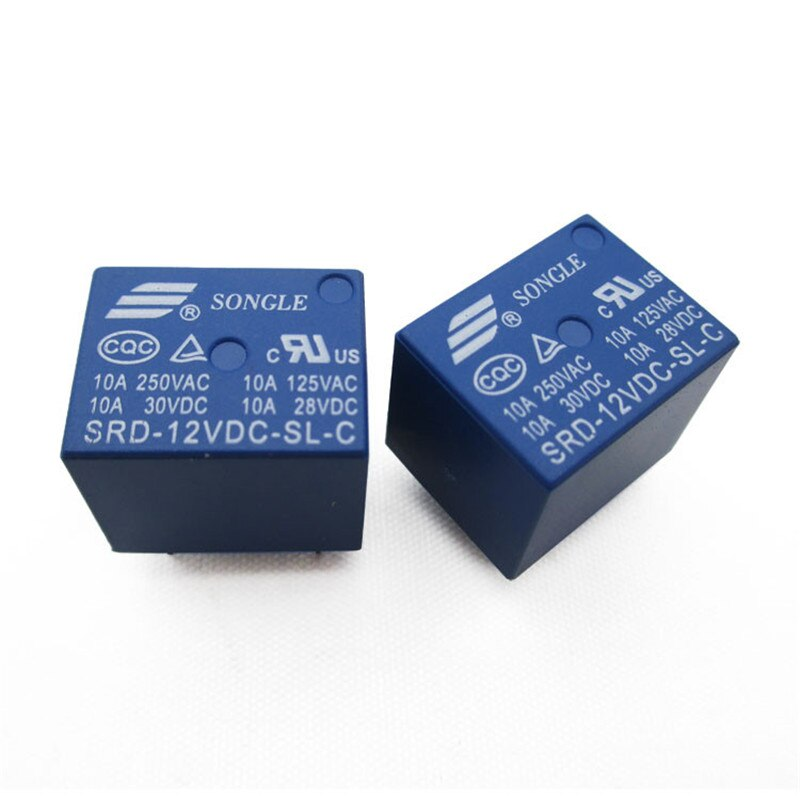 Envío gratis 10 unids/lote 12V DC SONGLE relé de potencia SRD-12VDC-SL-C Tipo PCB