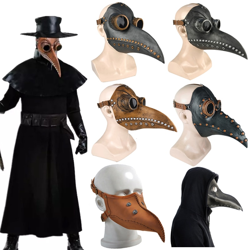 Plague Doctor Mask Leather In Black Beak Mask Plague Doctor Halloween Mask Steampunk PU Birds Cosplay Doctour De Peste