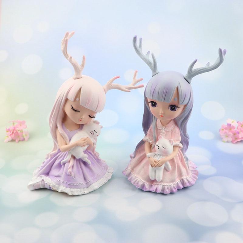 Europe Artificial Girls Deer Fairy Garden Miniatures Lovely Resin Crafts Figurines For Girls Friends Gift Home Decoration