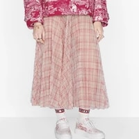 big name summer net yarn 3d plaid print ladies high waist skirt 2021new ladies fashion high quality large pleated puff skirt bra
