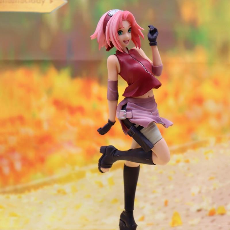 Anime Figure Toys Haruno Sakura Gals Shippuden Lovely Beautiful Figure PVC Action Collectible Model Doll Toys Birthday Gift 22cm недорого