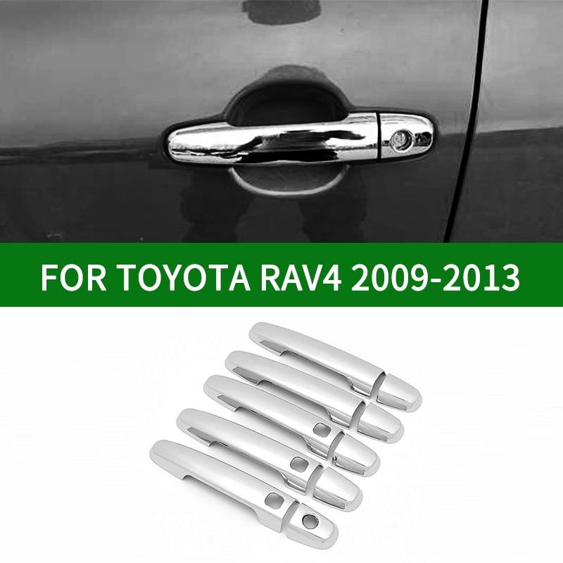 Para 2009-2013 TOYOTA RAV4 2.4A 1.8A 2,0 de cinco puertas de cromo de plata cubierta de manija de puerta de coche de 2010 de 2011 a 2012