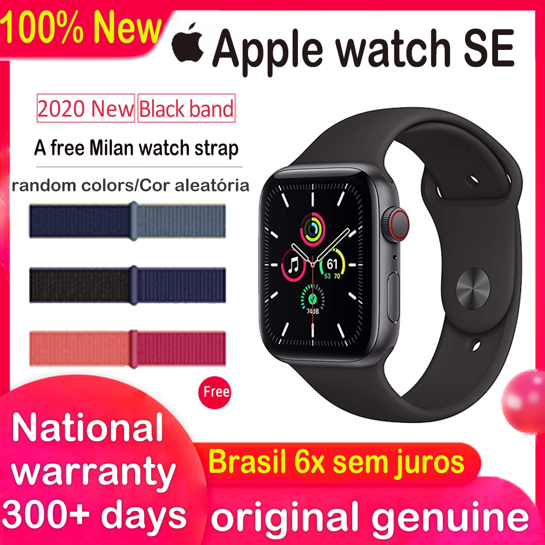 Review Smart Watch New Apple Watch SE GPS  Cellular 40/44MM black iWatch Aluminum Case with Black Sport Band and  Charcoal Sport Loop