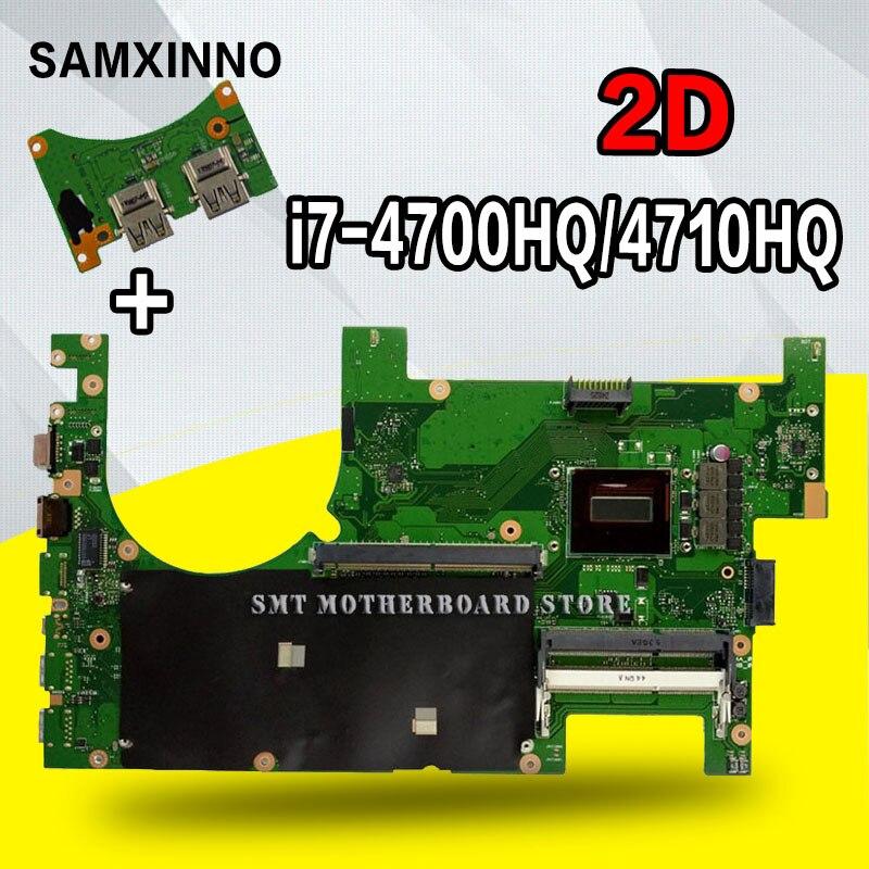 إرسال اللوحة الأم لأجهزة الكمبيوتر المحمول 2D ل For Asus G750JM G750JW G750JH G750JX G750J G750 اختبار اللوحة الرئيسية الأصلية i7-4710HQ I7-4700HQ