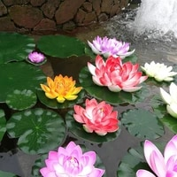 Decoration detang de fleur de Lotus  5 pieces  fausses fleurs flottantes de 10cm  decor de jardin de maison  rouge jaune bleu rose rose clair