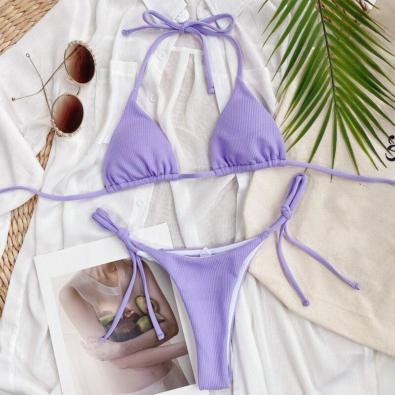 tankini swimsuits ladies micro blue bathing suit bikini brazilian set Bandage purple Low waist Mini swimwear women two pieces