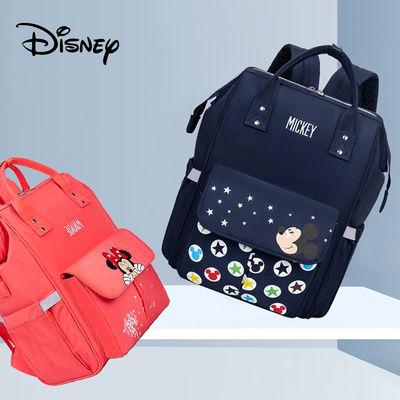 Genuine Disney Mickey Mouse Mummy Diaper Bags Maternity Nappy Large Capacity Baby Bag Travel Backpack Nursing Baby Care Wet Bag disney mickey mouse diaper bag waterproof baby care mummy bag maternity backpack large nappy bag oxford cloth baby bag