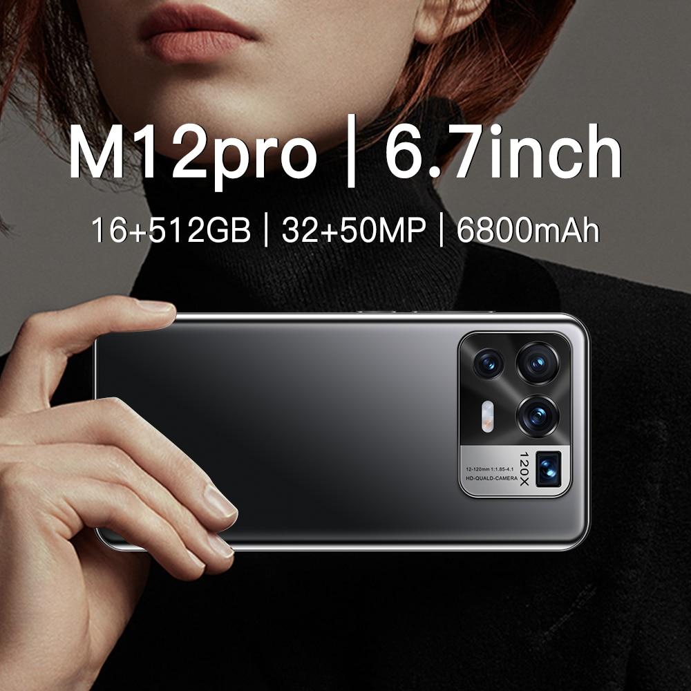 Global Version Hot Sale M12pro Global Version 16G 512G Android10 32 50MP 6800mAh Big Battery Snapdra