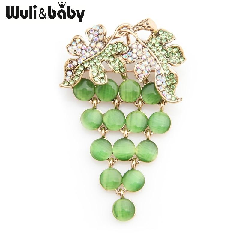 Wuli&baby Green Opal Grape Brooches Women Alloy Rhinestone Fruits Weddings Banquet Brooch Pins New Year Gifts