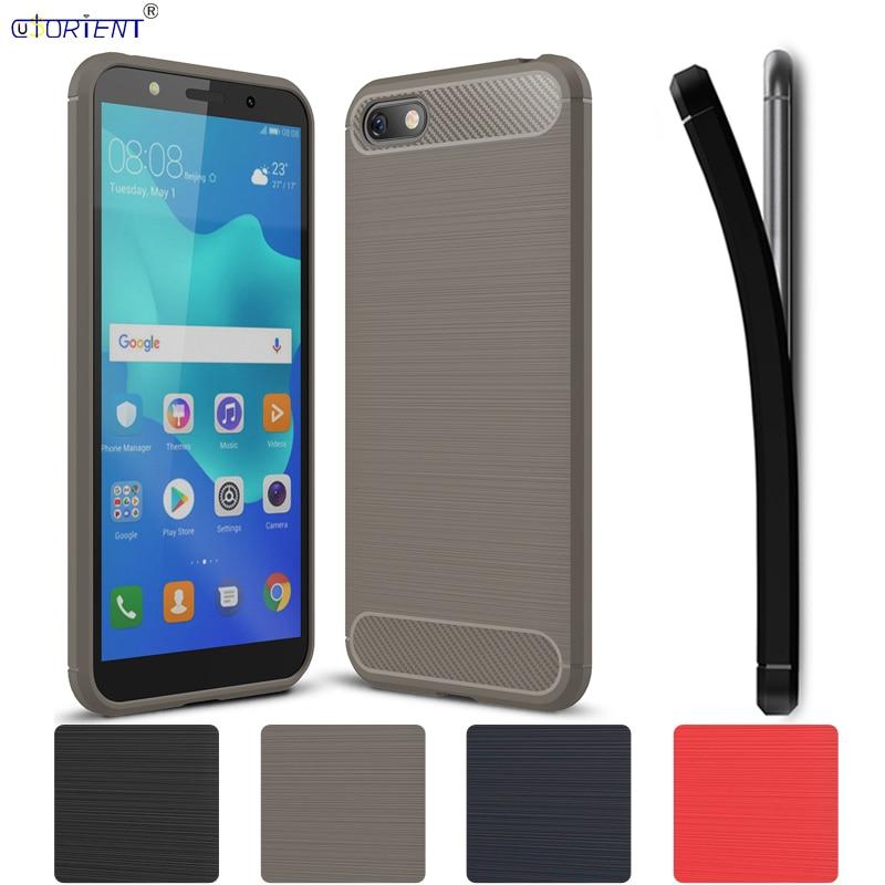 Huawei Y5 primer 2018 Y5 Lite Honor 7A parachoques caso DRA-LX5 DRA-LX2 DUA-L22 DUA-LX2 DUA-L21 de fibra de carbono de silicona TPU cubierta del teléfono