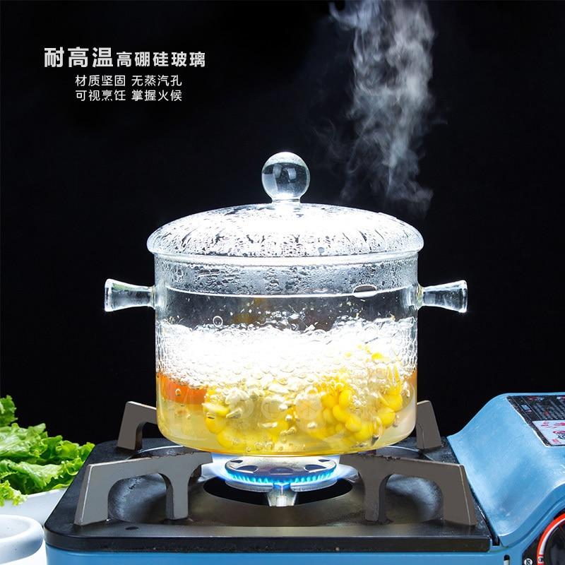 Casa de Vidro Transparente Sopa Macarrão Pote Alta Temperatura Resistência Stewpan Pan Tigela Salada