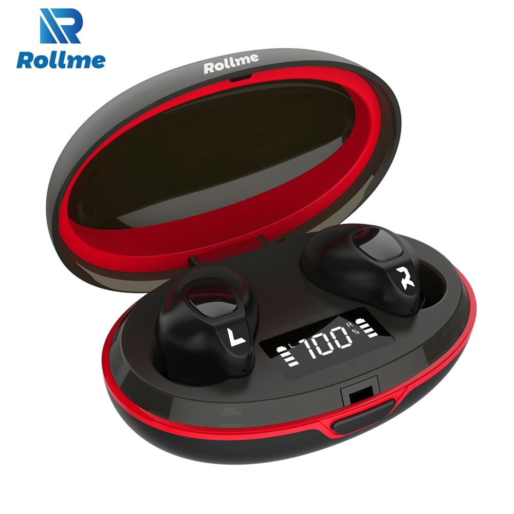 Rollme T05 TWS Bluetooth Earphones Hifi Sound Smart Button Bluetooth 5.0 HD Calls Battery Display 300mA Charging Cabin