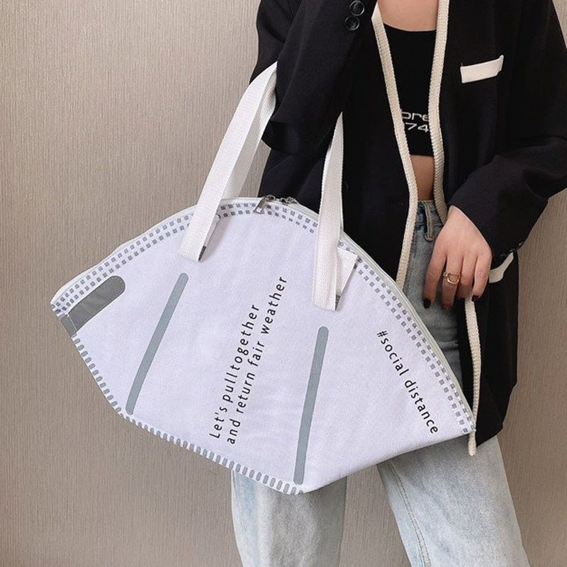 New Fashion Women Large Mask Shopping Bag Canvas Shoulder Bag Home Storage Bag Luxury Handbag Tote Bag