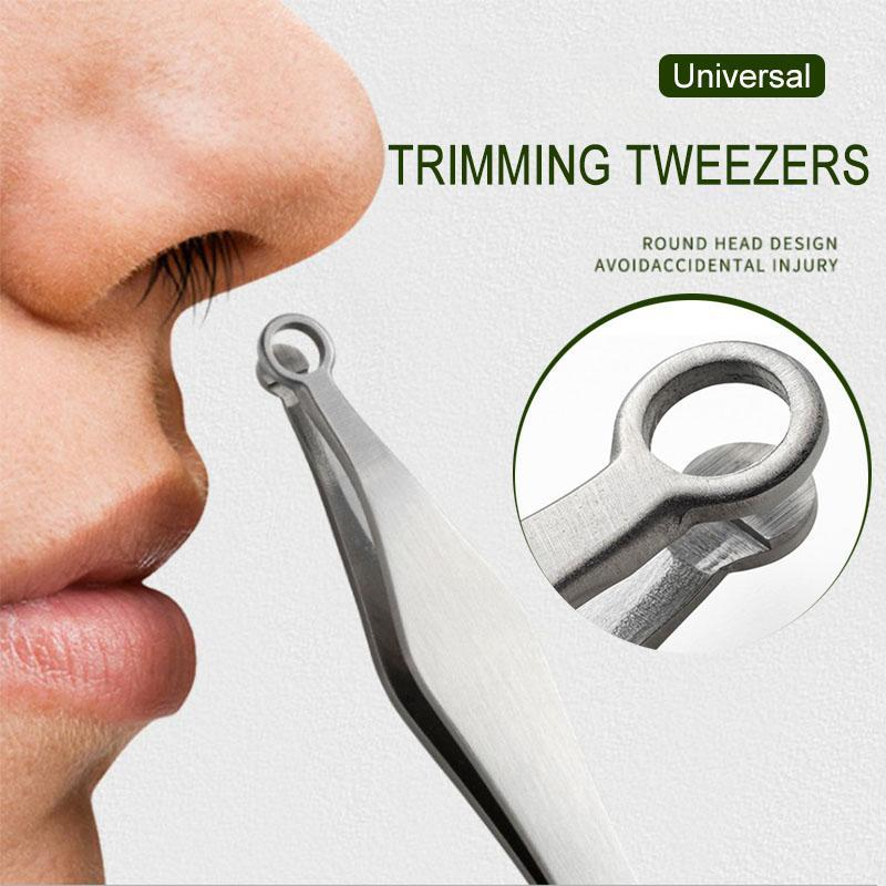 Universal Nose Hair Trimming Tweezers Round Tip Eyebrow Tweezer Perfectly Stainless Steel Nose Hair