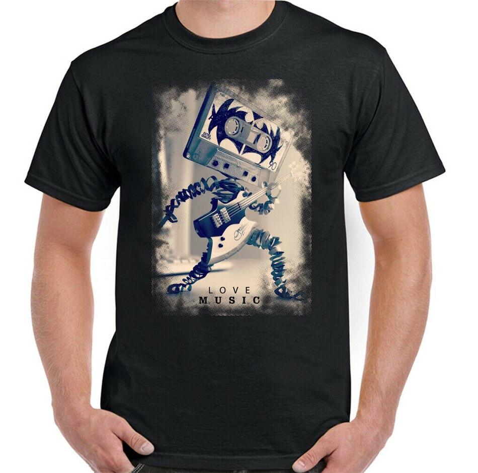 Love Music Mens Funny Guitar T-Shirt Retro Cassette Kiss Electric Amp Band Top Humorous Tee Shirt