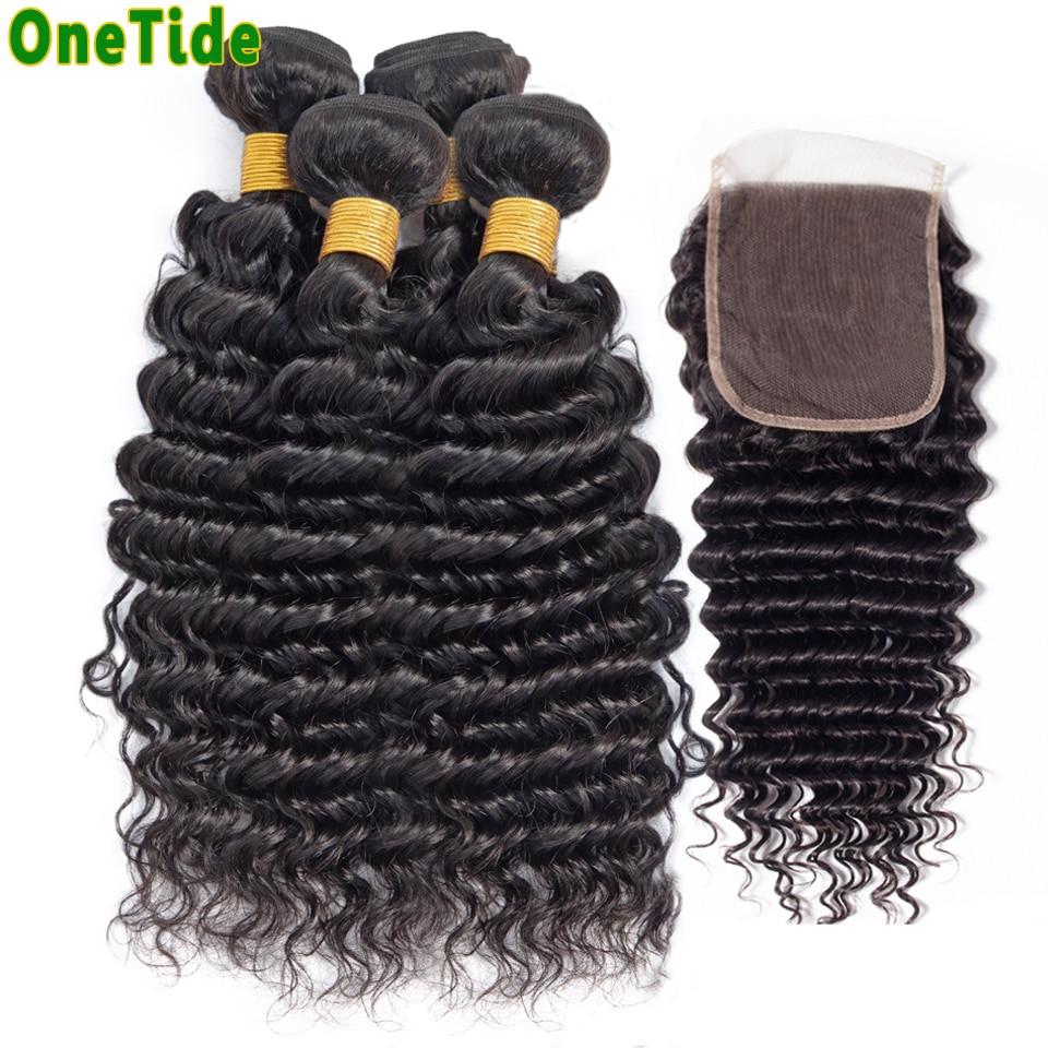 ONETIDE Wholesale deep Wave 3 4 Bundles With Closure Peruvian Brazilian Human Hair Weave Bundles With Closure Hair Extensions