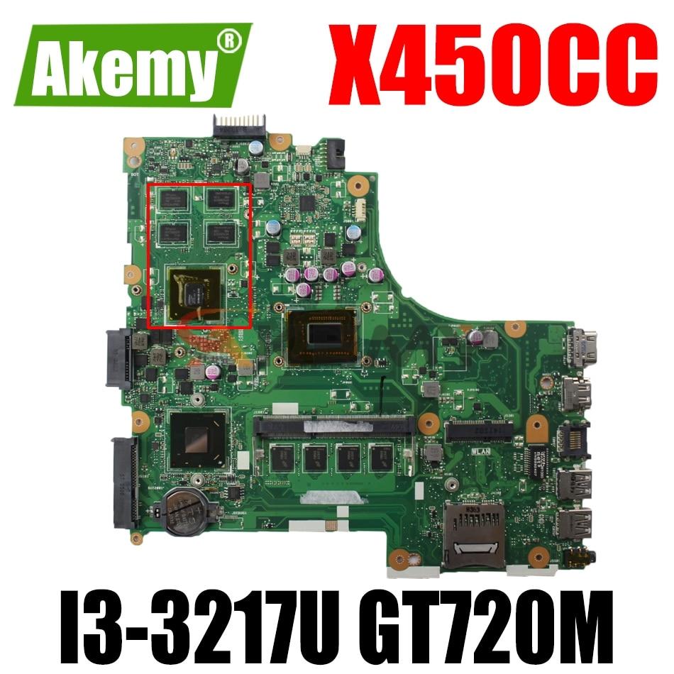 AKEMY X450CC اللوحة الأم لأجهزة الكمبيوتر المحمول ASUS X450CC X450C اللوحة الرئيسية الأصلية 4GB-RAM I3-3217U GT720M