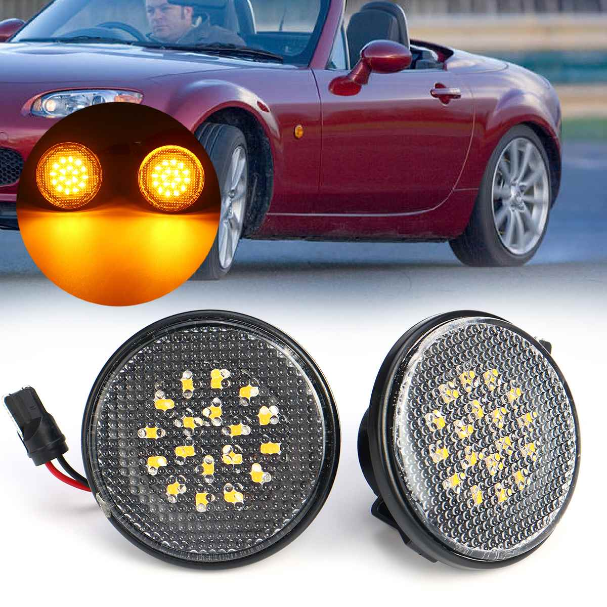 Пара светодиодные, боковые, габаритные фонари, указатель поворота, боковой повторитель, индикаторная лампа, мигалка 12 В, панельная лампа для...