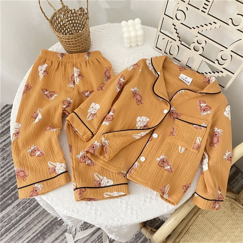 2021 Autumn New Baby Boy Bear Print Cardigan Set Kids Pocket Jacket Fashion Children Tops + Pants Su