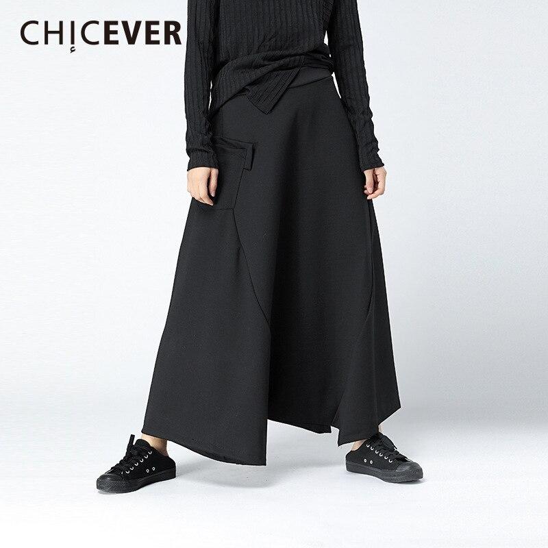 Chicever الشتاء سوداء عالية الخصر السراويل للنساء بانت فضفاضة كبيرة الحجم السراويل المرنة مضيئة الإناث الموضة عارضة 2018