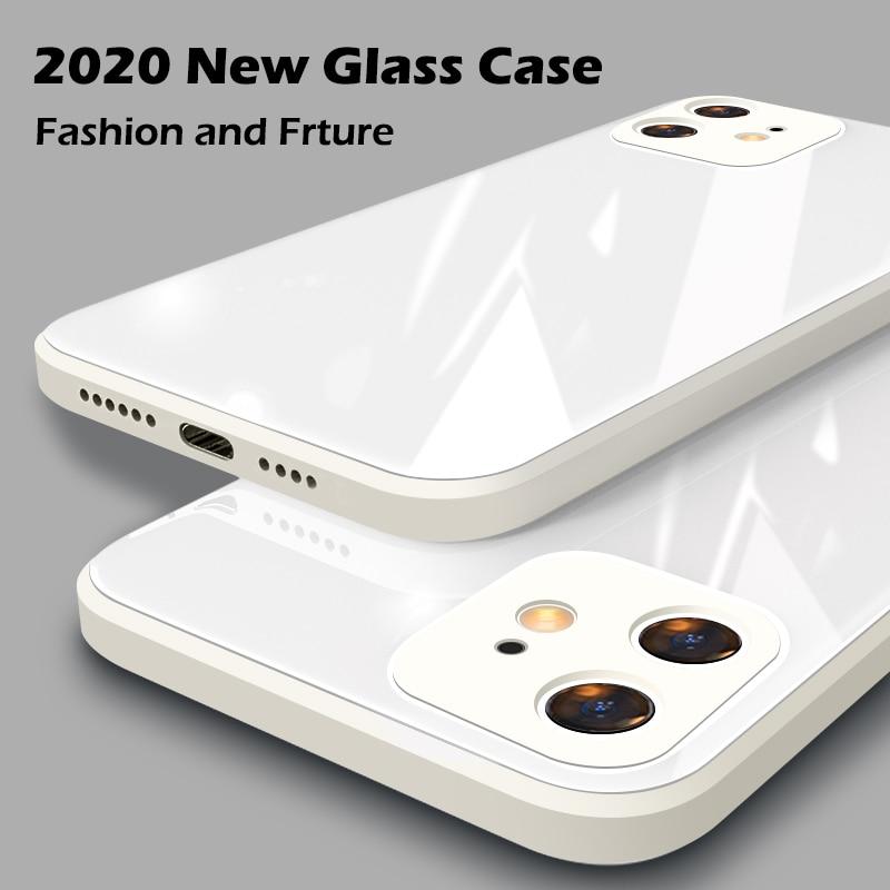 Funda cuadrada de cristal templado UTOPER para iPhone 11 12 Pro Max, carcasa antigolpes para bebé, carcasa con marco de piel para IPhone X XS MAX XR 7 8 Plus