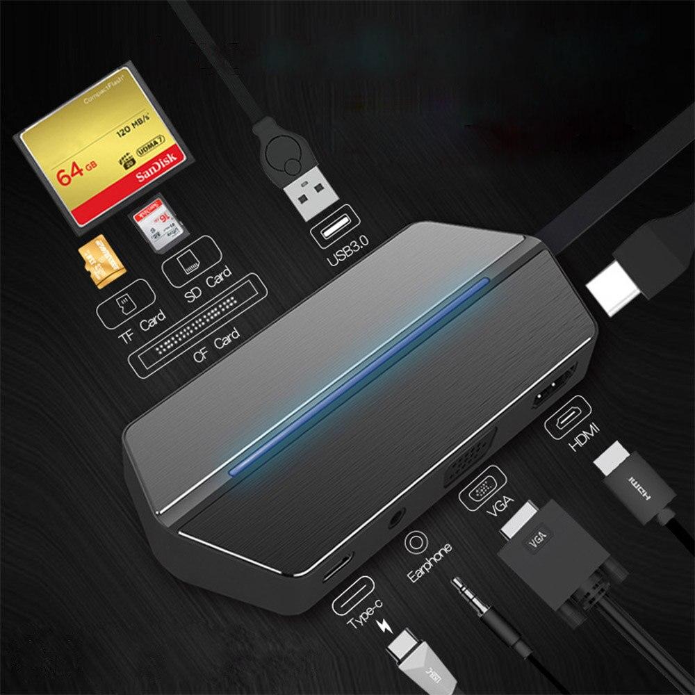 8 в 1 взаимный обмен данными между компьютером и периферийными устройствами C концентратора до 4k HDMI с PD зарядки USB3.0/SD/TF/CF/устройство для чтения карт USB разветвитель для Macbook Pro Samsung Galaxy usb концентратор 3,0 USB-хабы      АлиЭкспресс