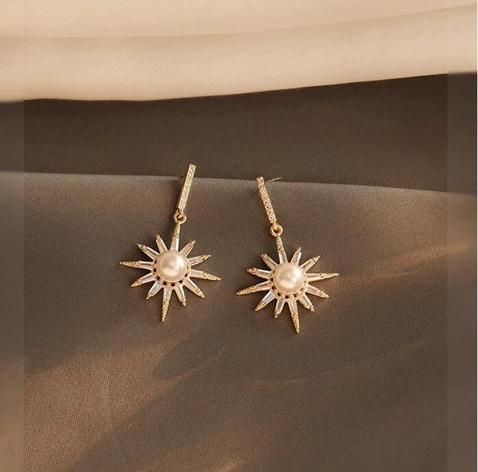 Pendientes dorados brillantes perla sol flor diseño de moda de alta sensación accesorios únicos ea