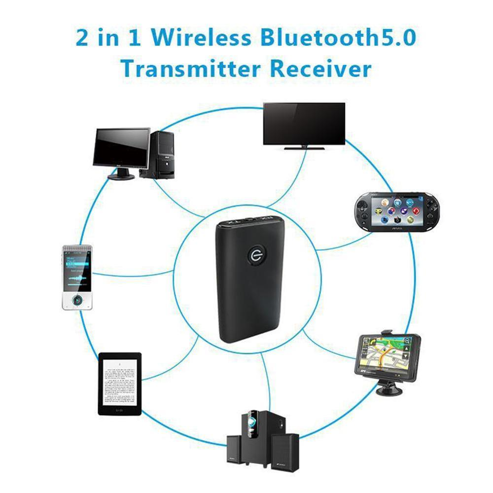 2 in 1 Bluetooth 5.0 Transmitter Receiver TV PC Car Speaker AUX Adapter/Headphones Audio 3.5mm Music Stereo Car/Home Device G7Z4 enlarge