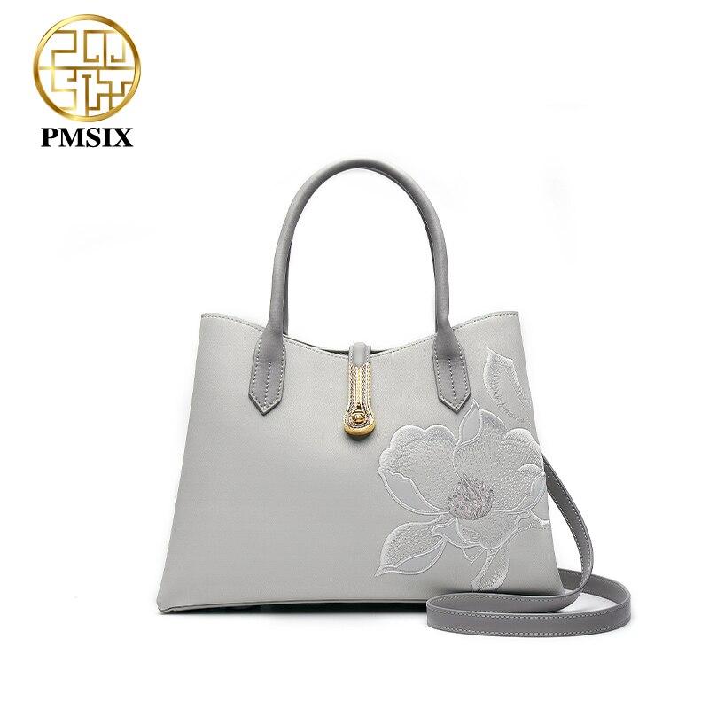 PMSIX جلد البقر النساء حقائب اليد الفاخرة زهرة التطريز الإناث حقيبة يد مصمم حقيبة كتف أنيقة بسيطة حقائب النساء