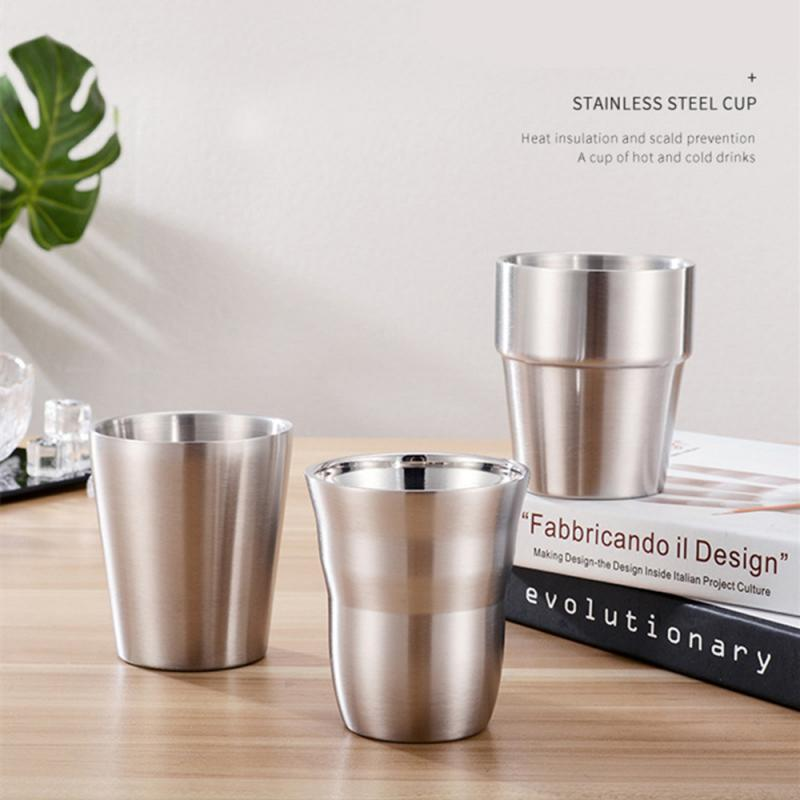 2019 venda quente dupla parede de aço inoxidável copos e copos 175/260/300/480 ml metal cerveja fria copo de café barra para cozinha em casa