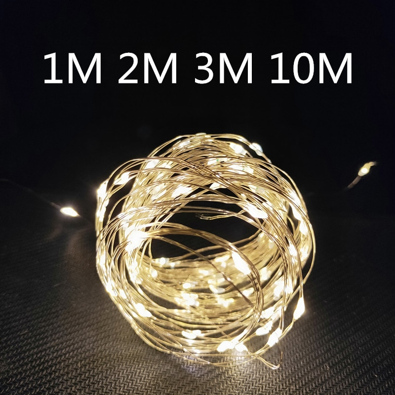 1m/2m/3m/10m Copper Wire Battery Box Garland LED Wedding Decoration for Home Decoration Fairy  for Party Decoration String Light