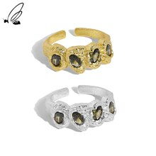 S'STEEL Sterling Silver 925 Irregular Micro Design Zircon Texture Opening Ring For Women Trendy Enga