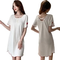 white homewear sexy summer sleepshirts women nightdress female solid color cotton nightgown ladies lingerie casual home clothing