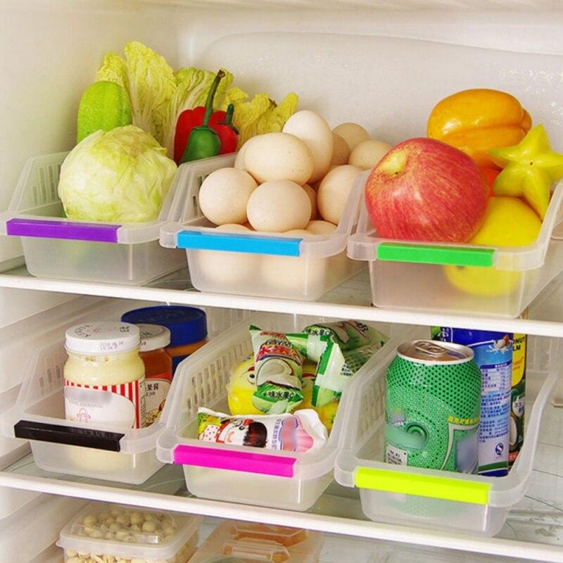 Nevera transparente caja de almacenamiento cesta de plástico cajón de alimentos Utility cocina baño organizador estante herramientas de acabado