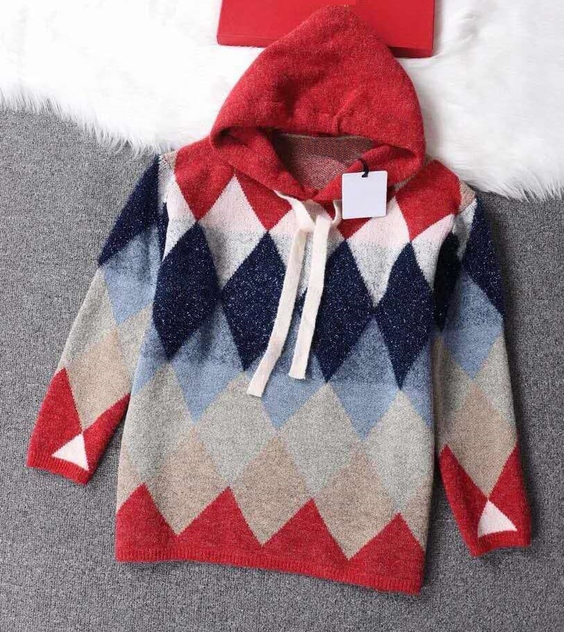 Hooded Sweaters 2020 Autumn Winter Fashion Knit Wear Women Geometric Patterns Knitting Long Sleeve Casual Loose Tops Pullovers enlarge